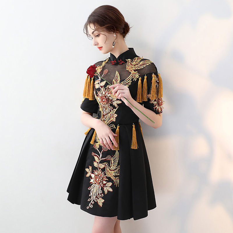 2018 Vestido De Festa Celebrity Dresses New Arrival Chinese Oriental Mini  Scoop Embroidery Tassel Plus Size Short Long Dress-in Celebrity-Inspired  Dresses ... 7d36e34e3f8a