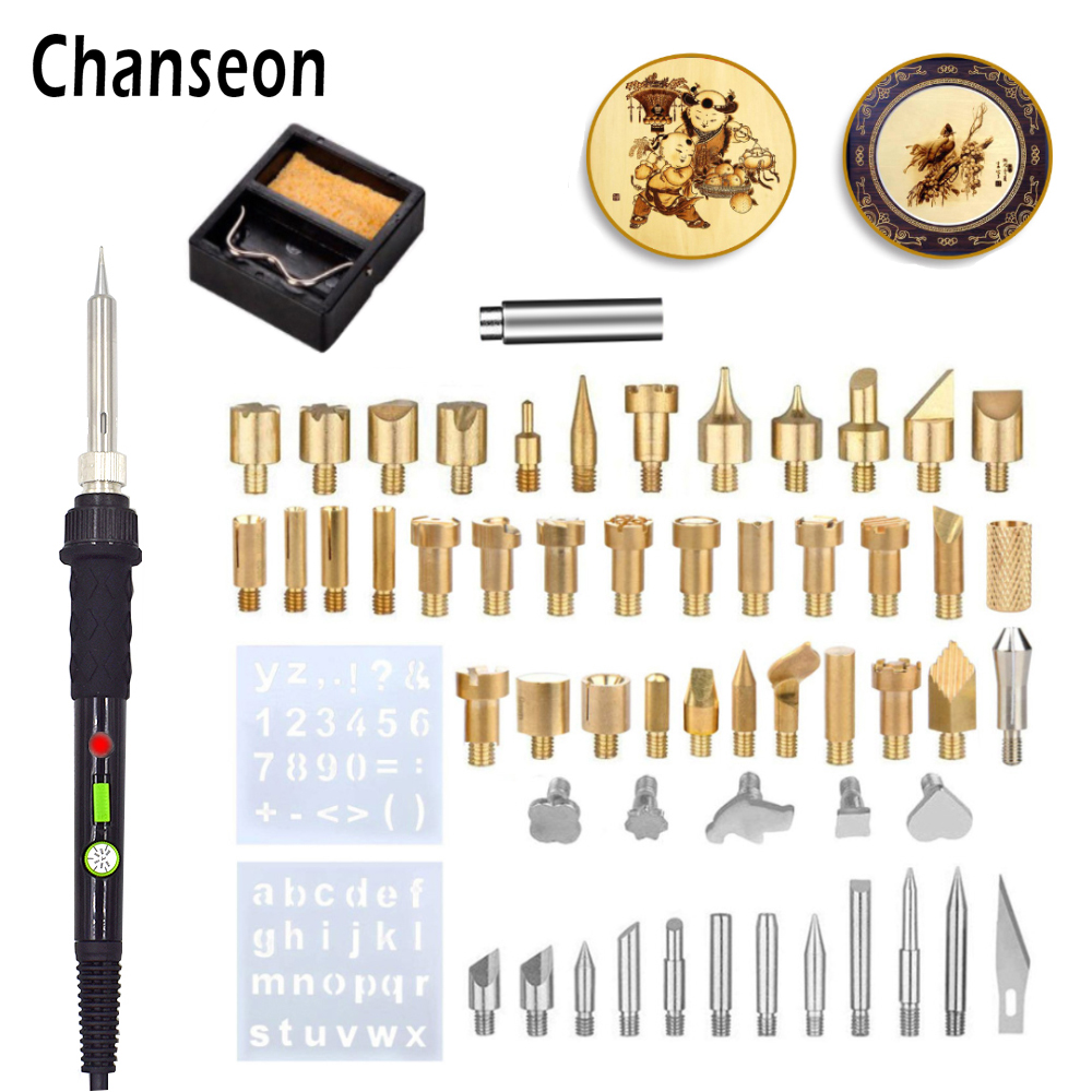 ChanseonEU/US Plug 60W Electric Soldering Iron Carving Pyrography Tool Welding Tips Kit Wood Embossing Burning Soldering Pen Set
