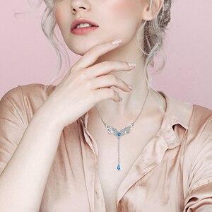 Image 2 - Sg 925 prata esterlina pena asas colar para as mulheres azul cristal e zircão pingente colares é um presente de jóias de moda