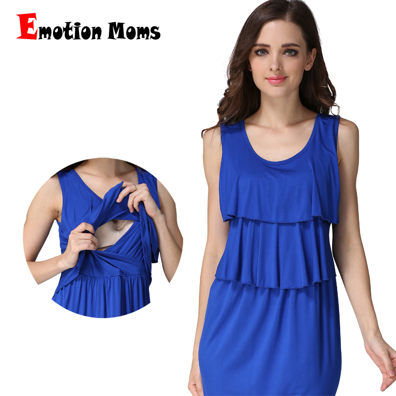 Emotion Moms Summer Maternity Clothing Maternity Dress Soft Nursing Breastfeeding Dresses for Pregnant Women Nursing Clothes