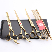 Z3003 4Pcs Set 7 Golden Steel Comb + Cutting Shears Thinning Scissors +UP Curved Professional Pets Hair Suit