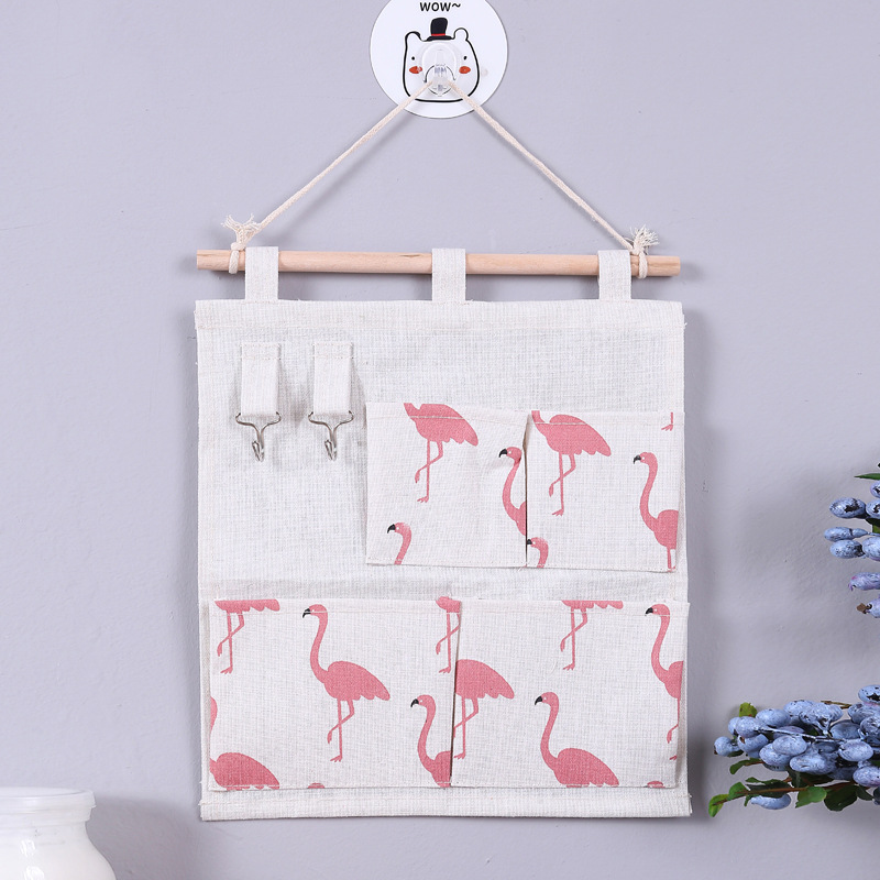 Linen Cotton Fabric Storage bag Wall Door Closet Hanging Storage Bag Case 4 Pockets Organizer For Cosmetics Storage Containers