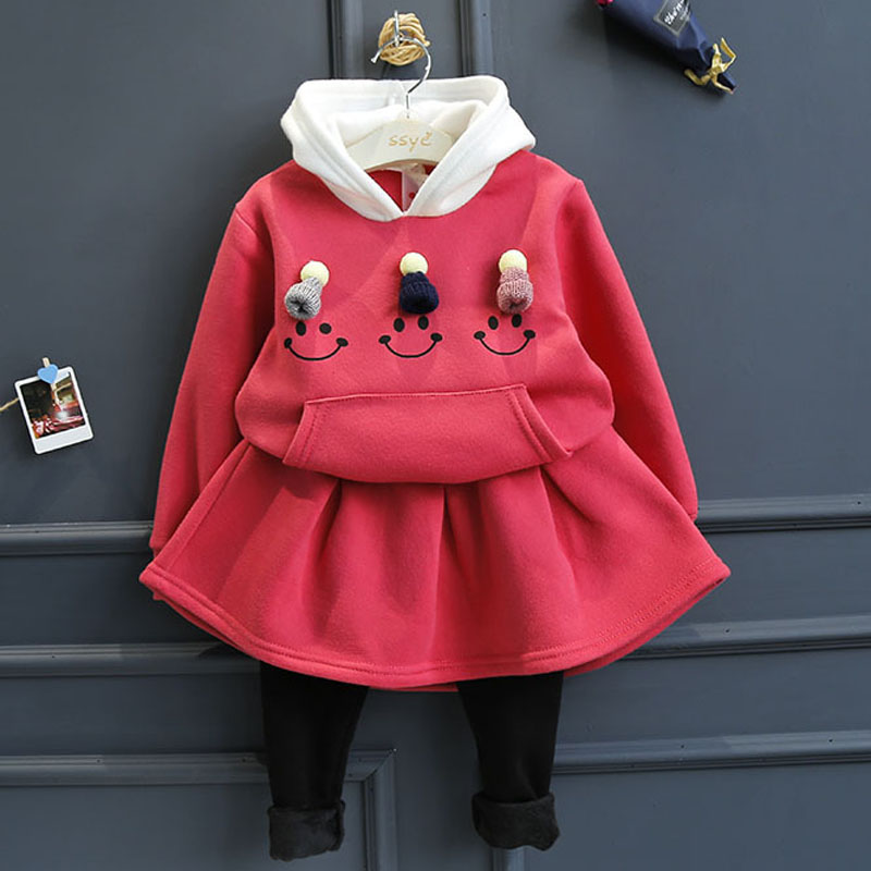 2Piece/2-6Years/Autumn Winter Baby Girls Suits Kids Clothing Sets Hooded Cartoon Cute Tops+Skirt Pants Children Clothes BC1139 autumn winter girls children sets clothing long sleeve o neck pullover cartoon dog sweater short pant suit sets for cute girls