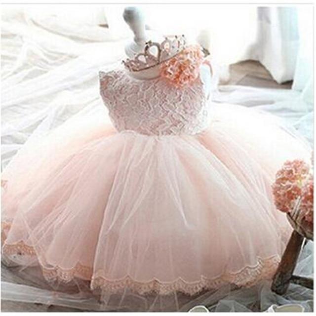 6638c312e85 Bébé Fille robes de baptême Robe dentelle fleurs enfants enfant en bas âge  princesse 1 an