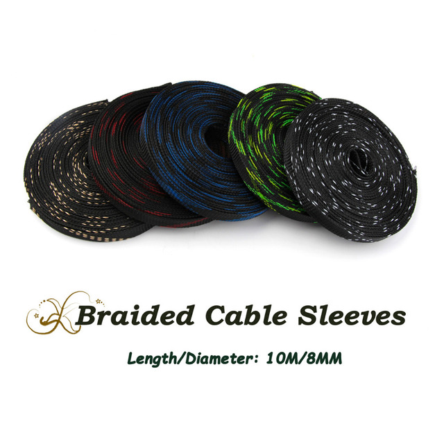 10M 8mm High Density Braided Sheathing Cable Sleeve PET Protection ...