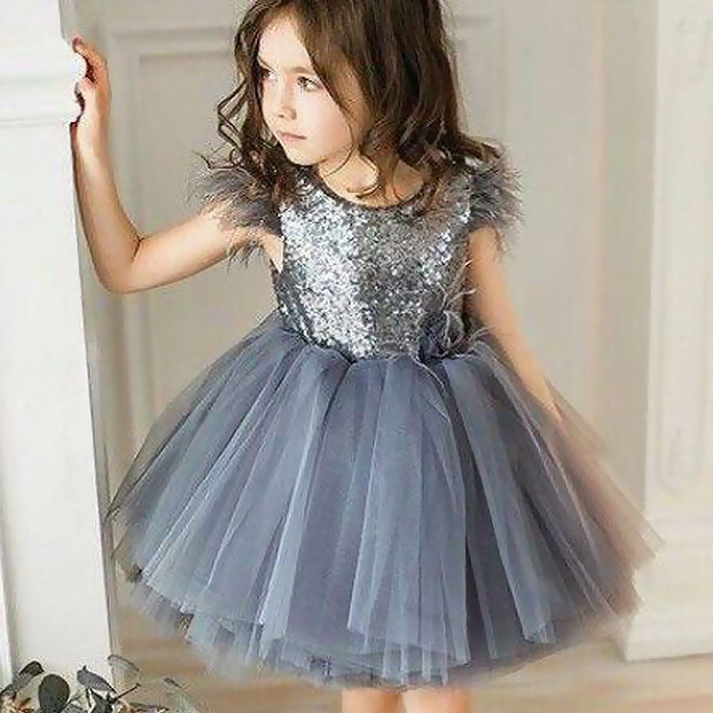 Kids Baby Girls Princess Tutu Sequins Dress Lace Party Pageant Bridesmaid Tulle Dresses