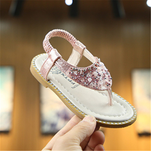 Xinfstreet Baby Girls Sandals Bling Rhinestone Princess Children Shoes Toddler Beach Sandals Kids Summer Shoes Size 21-30 3