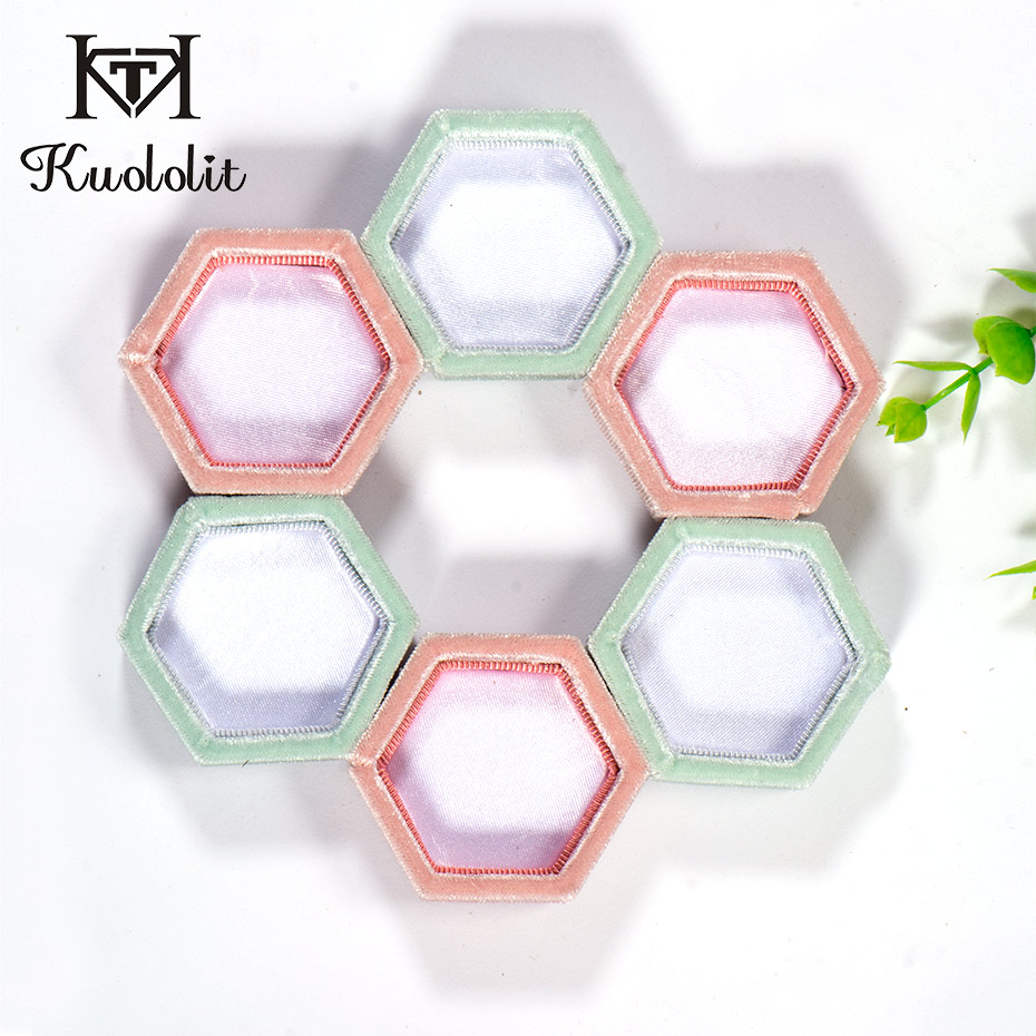 Kuololit 5PC/lot Velvet Hexagon Ring Boxes For Women Handmade Jewelry Boxes For Wedding Engagement Bridal Gift Pink Green Box