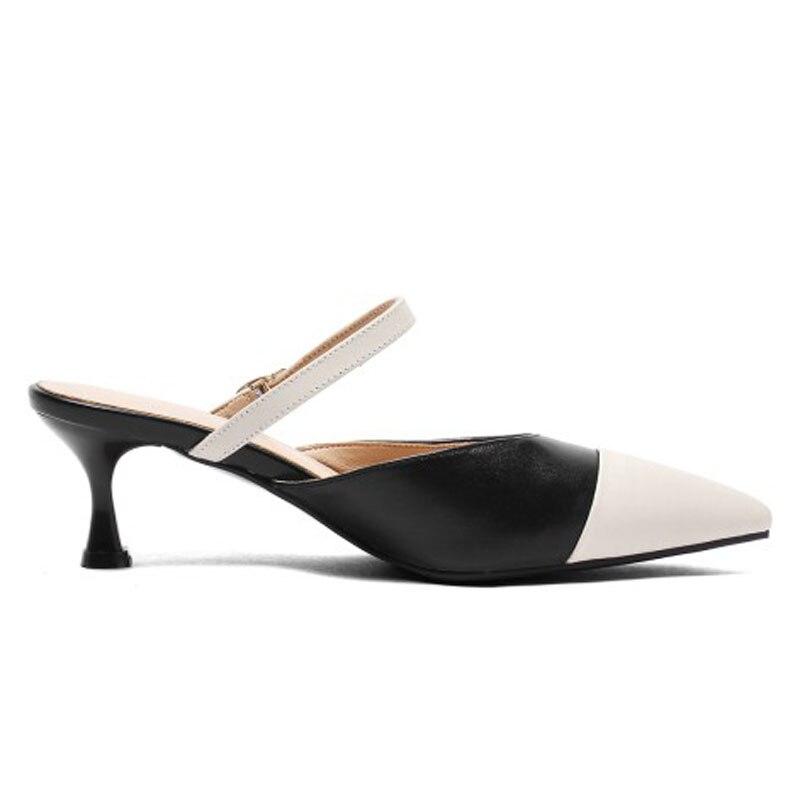 Automne D'été Profonde Party Grande Boucle Pompes Apricot Chaussures Hauts noir Peu Stylets Véritable En Décontracté Fashion Femmes Taille Talons Printemps Strap Cuir SdwpqS