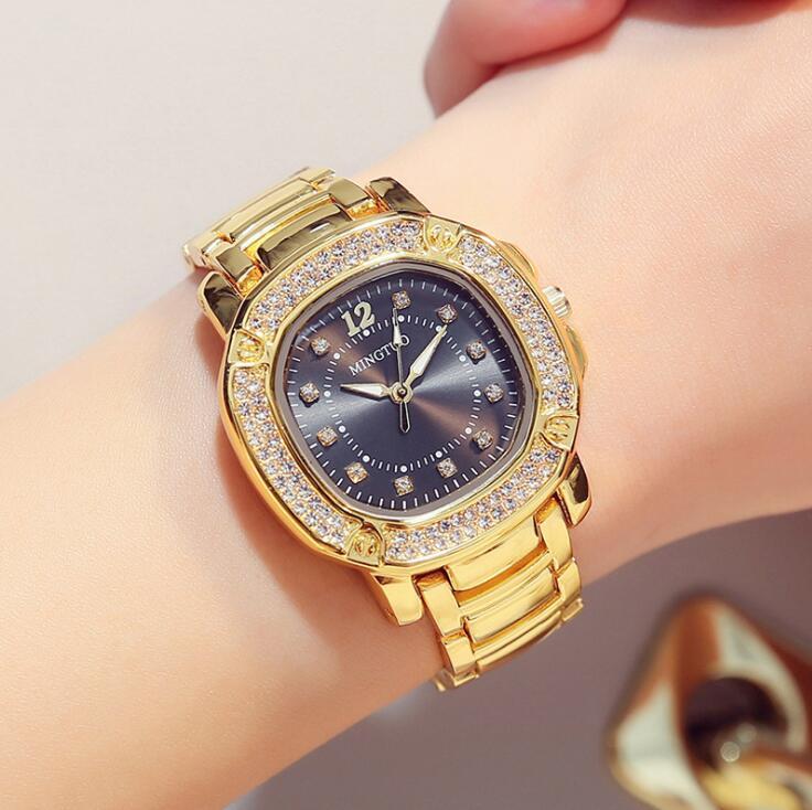 Luxe Dames Roségoud Horloge Merken Crystal Sliver Dial Fashion - Dameshorloges - Foto 4