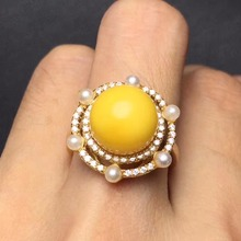on sale Real 925 sterling silver special process 10mm Diana style natural true beeswax ring for women stone fine jewelry