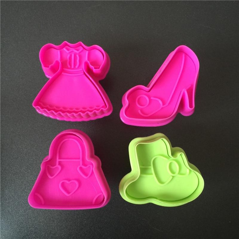 4 типов модные Пластик Cookie Mold резца плунжера штамп Фондант Embosser die 3D печенье Формы для тортов платье Hat Сумочка Обувь