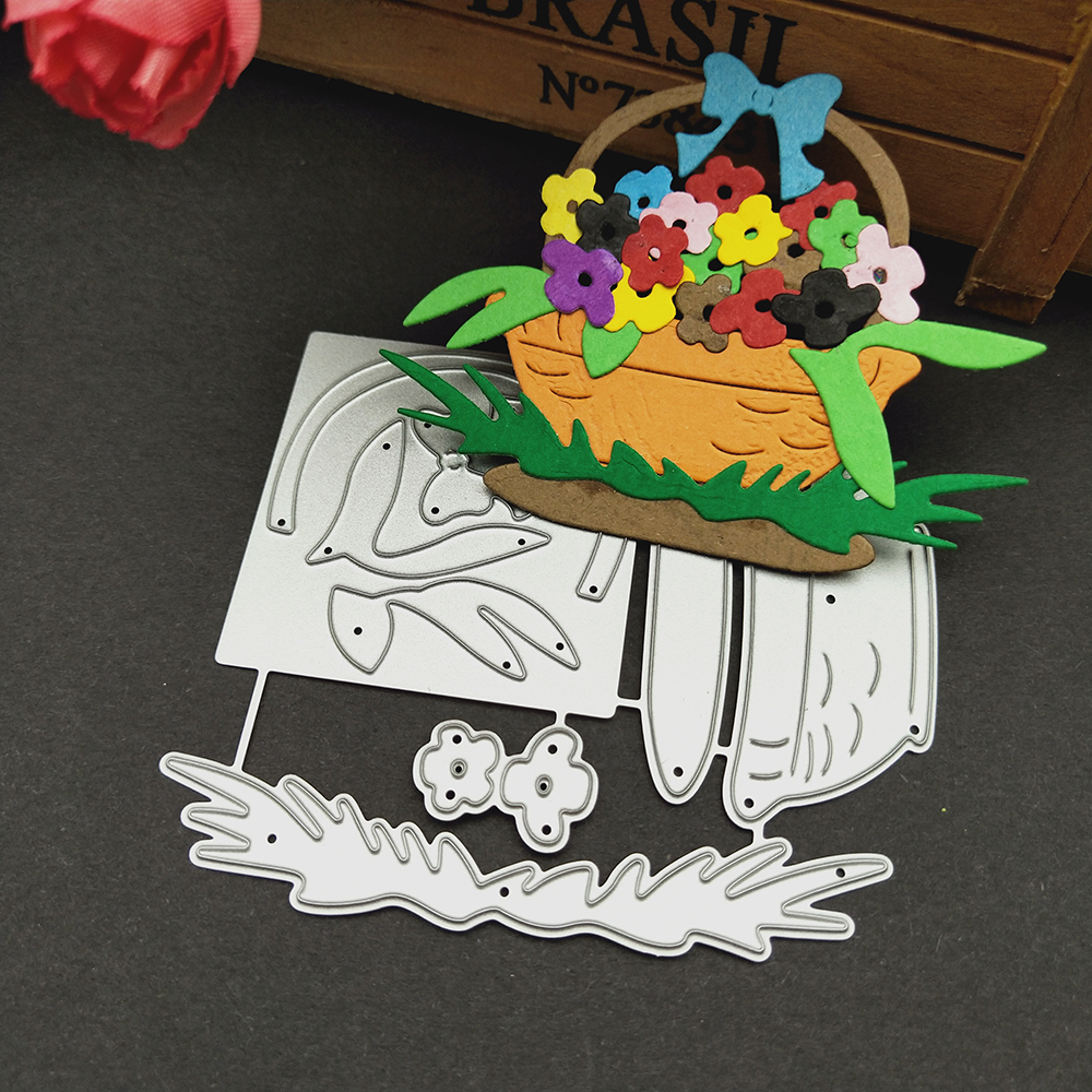 HamyHo Metal Cutting Dies Weave Flower Basket Dies Cut Scrapbooking Stamping Dies Album Card Photo Decorate Craft 2018 New