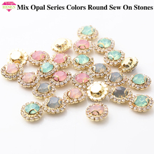 RESEN New! Mix Opal Color 8mm Gold Sew On Round Rhinestones With Resin Opal/pink/green DIY Rivoli Sewing Stones With Gold Claw resen 6mm mix fancy opal colors resin sew on rhinestones with gold claw pink blue green white opal sewing rhinestones diy dress