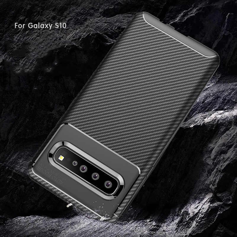 Тики-така углеродного волокна матовый чехол для samsung S10 S10Plus S10Lite Мягкий ТПУ излучающий чехлы для телефонов для samsung S10 E задняя крышка