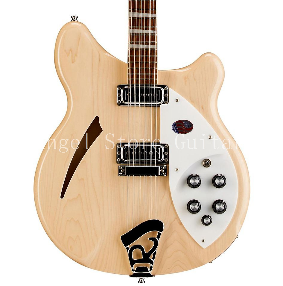 New Custom Ric Guitar natural wood 360 12 Strings Electric Guitar Semi Hollow Body Triangle Mother