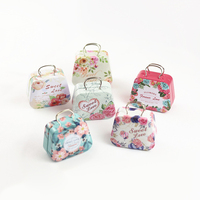 12 pcs/box mini Sweet love flowers handbag candy storage box wedding favor tin box zakka cable organizer container household