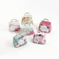 12 pcs/box mini Sweet love flowers handbag candy storage box wedding favor tin box zakka cable organizer container household