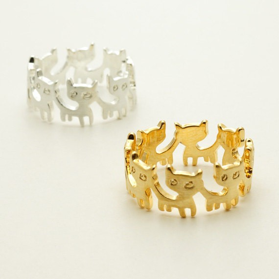 Zinc Alloy Round Cat Ring for Women
