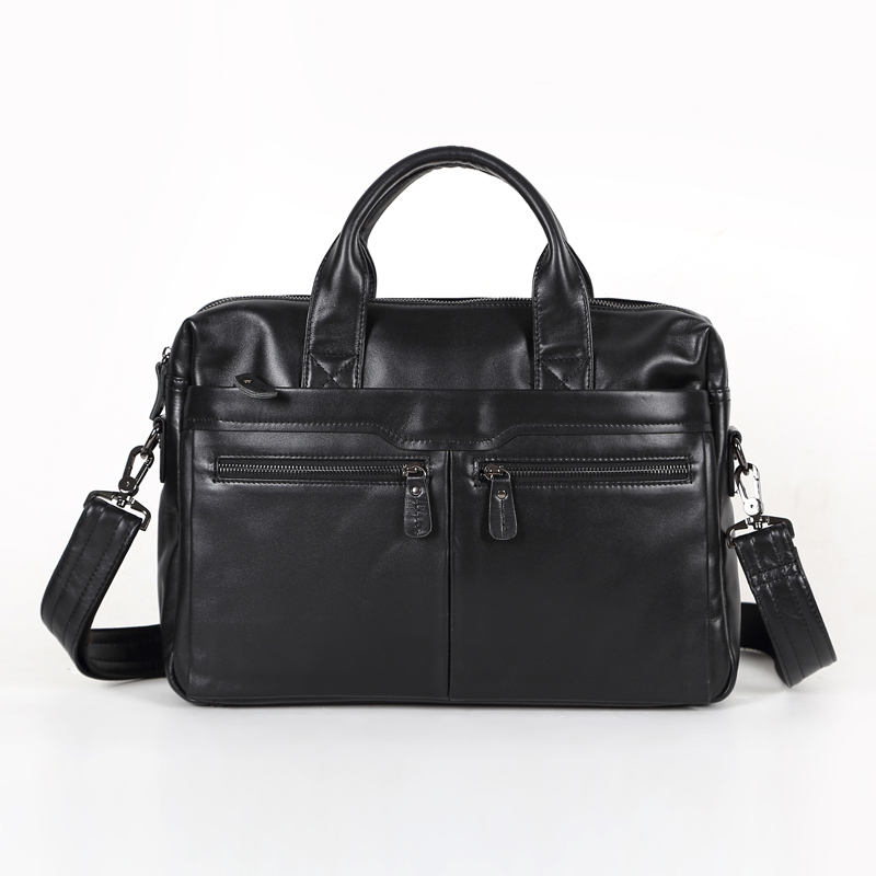 Nesitu Black 100% Guarantee Real Skin Genuine Leather Men Messenger Bags Man Briefcase Portfolio #M7122