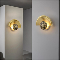 Nordic wall lamp LED wall decoration lamp modern copper bedroom bedside lamp Nordic light luxury simple design living room lamp