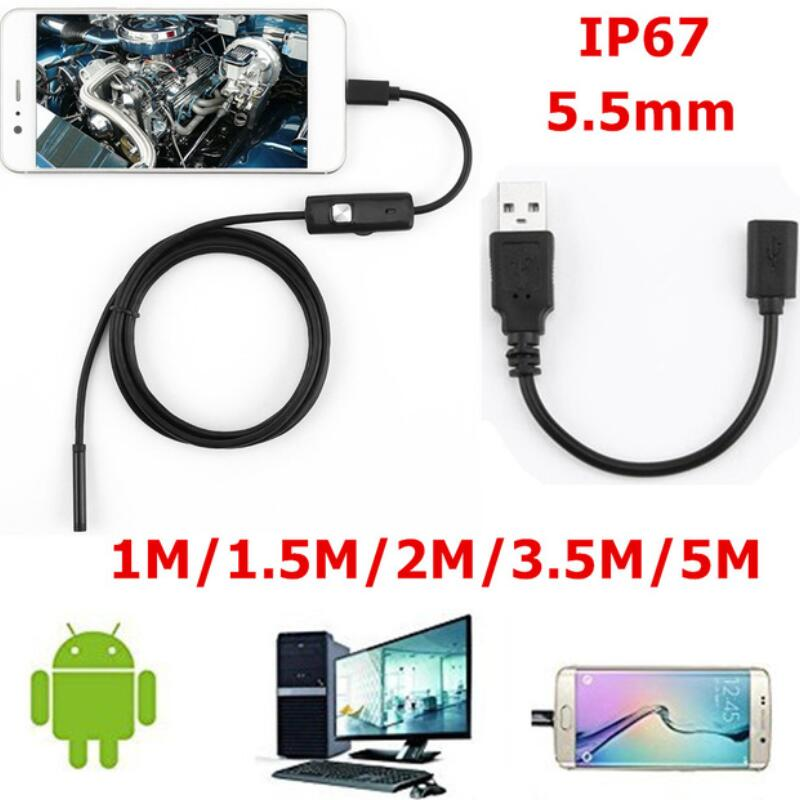 5.5mm 720P Endoscope Camera HD USB Endoscope With 6 LED 1/1.5/2/3.5/5M Soft Cable Waterproof Inspection Borescope For Android PC
