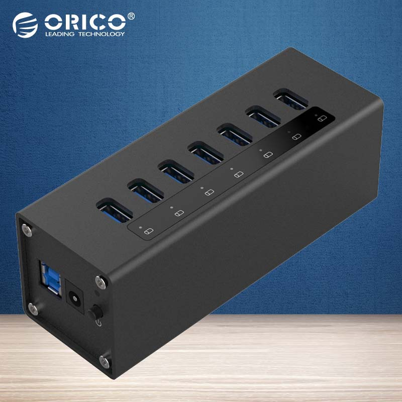 ORICO A3H7-BK 7 Port High Speed Desktop USB3.0 Hub 5Gbps High Speed with Power Adapter Aluminum HUB For Macbook-Black