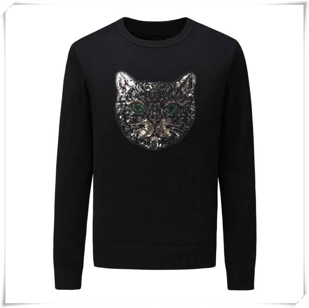 New 2019 Man Luxury Winter Gentleman Sequin Cat Head Knit Casual Sweaters Pullovers Asian Plug Size High Quality Drake #H52