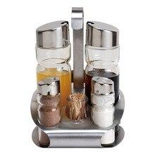 Набор кухонных инструментов, солонка, перечница, без запаха, для специй, с подставкой, коробка для приправ, для приготовления приправ, Нержавеющая бутылка