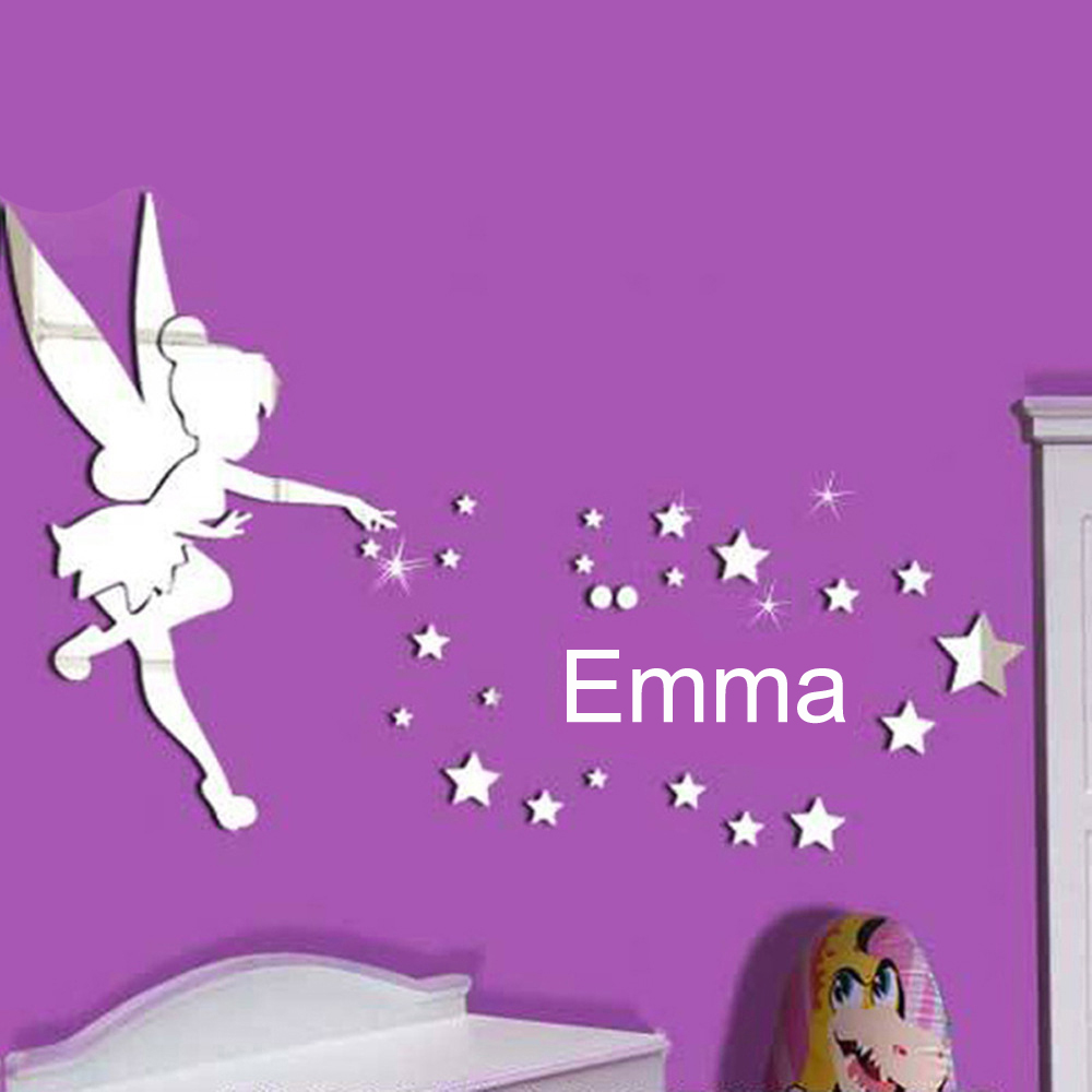 Cute Angel Stars Personalized Name EMMA Mirror Wall Decor DIY 3D Acrylic Wall Sticker for Kids Room Bedroom Home Decals