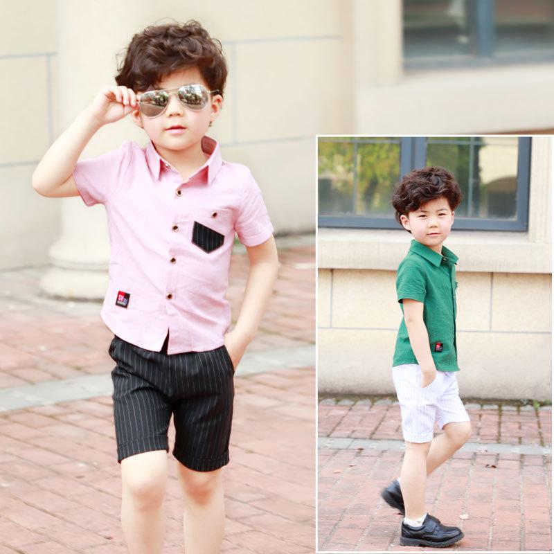532dffd7732a School Boy Summer Clothing Set 2018 Boys Clothes Kids Short Sleeves Shirt+ Stripe  Shorts 2pcs Suit