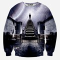 Newest design Men/Women's galaxy space hoodies standing on the steps of the highest The man creative 3D Sweatshirts WY08