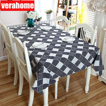 Japanese zakka tablecloth linen lace Rectangular Kitchen Cafe table cover navy blue dining cloth background