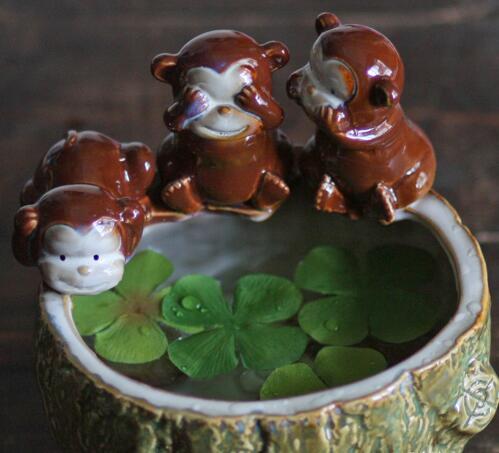 ceramic monkey fish bowls home decor crafts room decoration handicraft porcelain figurine storage pots dish decoration vase