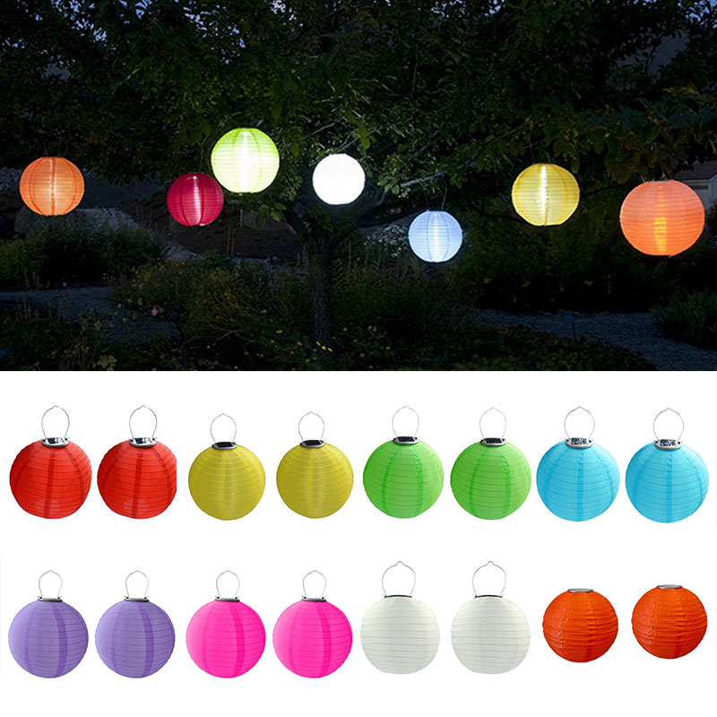 2Pcs/Lot 30cm Solar Powered 5050 SMD LED Light Bulbs Waterproof Chinese Lantern For Wedding Party Garden --M25