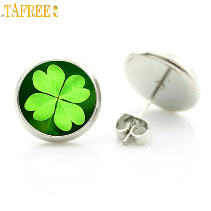 TAFREE fashion lucky Four Leaf Clover stud earrings women  flower life tree nature plant art jewelry friends gift idea D910