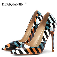 KEAIQIANJIN Stiletto Women's Doodling High Heels Shoes White Wedding Pumps Fashion Sexy Party Pointed Toe Stripe Pumps Plus Size cocoafoal woman green high heels shoes plus size 33 43 sexy stiletto red wedding shoes genuine leather pointed toe pumps 2018