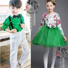 Новогодние костюмы для детей в европейском стиле галстук-бабочка, комплект одежды для джентльменов, костюм для латинских танцев с блестками для девочек