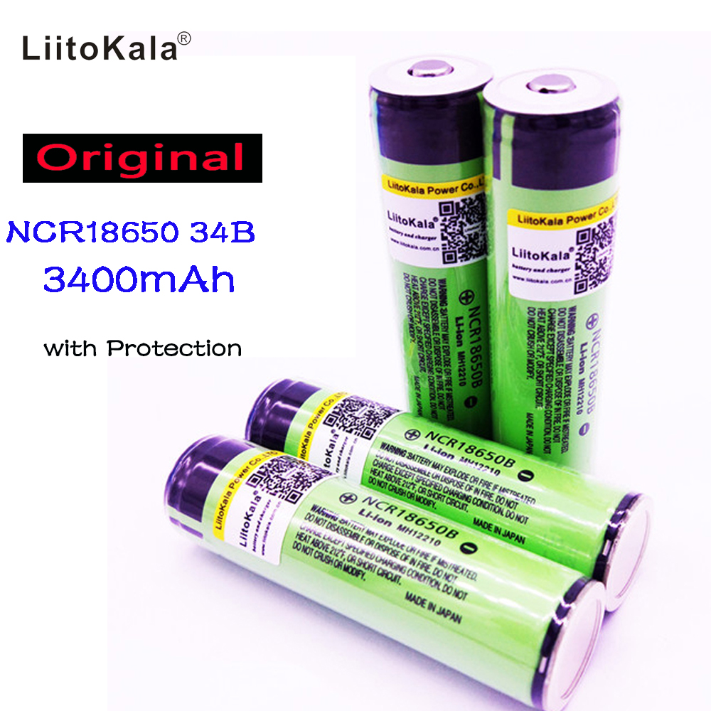 2017  Liitokala For Panasonic 18650 3400mah battery Protected  li-ion  Rechargeable battery NCR18650B with PCB panasonic ncr18650b super max 3 7v 3400mah rechargeable li ion battery black green