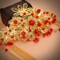 Chinese wedding bride headdress red fringed hair frontlet cheongsam dress costume accessories