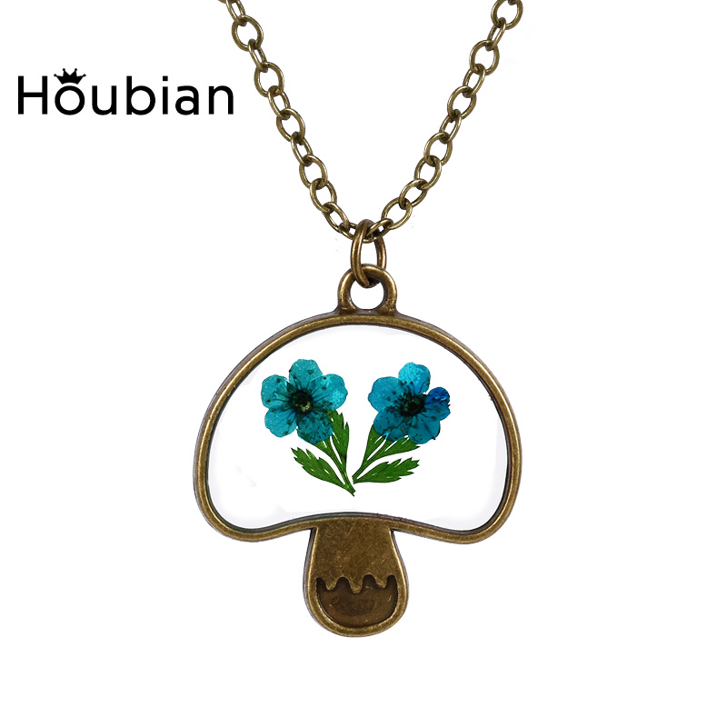Trendy lovely womens nature glass dried leaves flowers mushroom trendy lovely womens nature glass dried leaves flowers mushroom pendants necklace vintage design 5 choice handmade craft gifts in pendant necklaces from mozeypictures Gallery