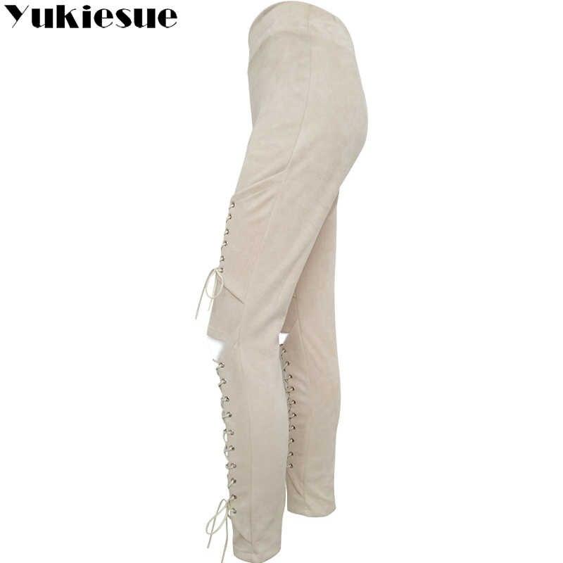 Herbst Sexy Frauen Lace Up Faux Wildleder Stretch Bodycon Bleistift Hosen Aushöhlen Winter Weibliche Hohe Taille Bandage Hosen