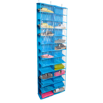 Closet Ware Clear Over The Door 26 Pocket Shoe Organizer Washable Polyester Shoe Rack Hanging Shoe Storage Bag