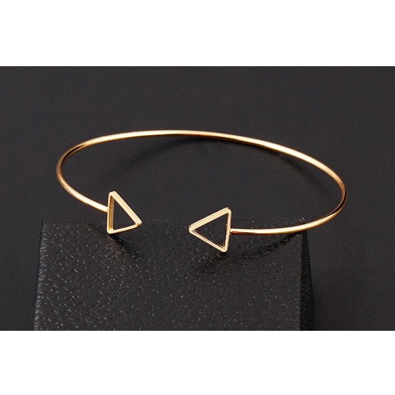 2016 Punk Geometric Double Triangle Bangle Opening Cuff Adjustable ...