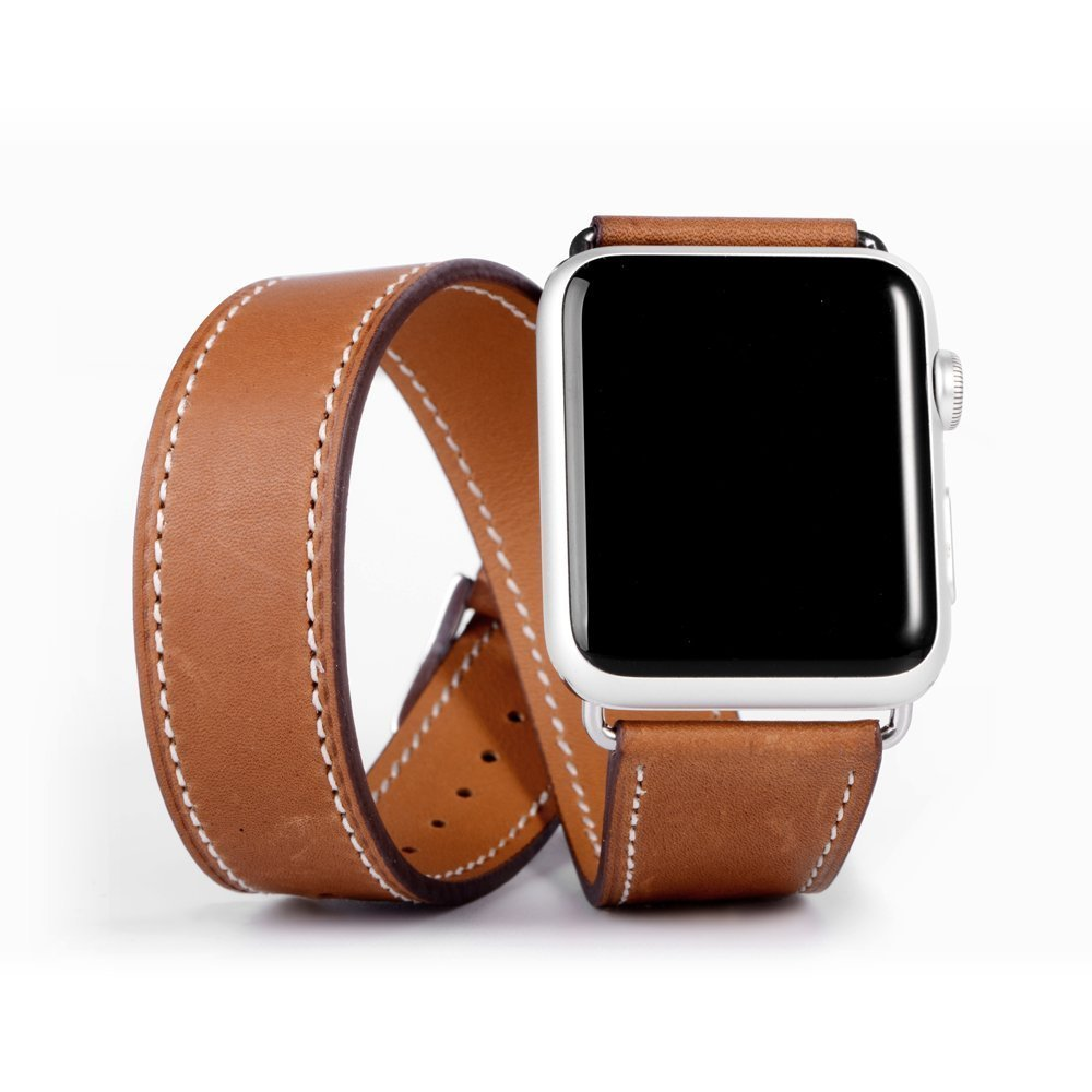 CRESTED Genuine Leather Double Tour bracelet band for apple watch 42 mm/38 Leather strap watchband women apple smart watch strap значок pyromaniac big skull black white