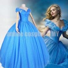 Anime cosplay traje de la muchacha del vestido de boda de la Nueva película de dibujos animados Cenicienta Princesa vestido para mujeres azul deluxe Cenicienta