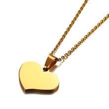 25×19.5mm Tiny Gold Heart Necklace in Stainless Steel Layering Necklace Free Laser Engraving