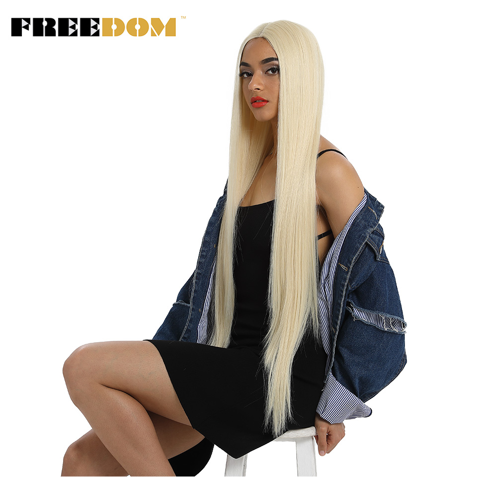FREEDOM Synthetic Lace Front Wig For Black Women Supper Long 38Inch Ombre Blond 3 Color Natural Straight Hair Wigs Cosplay Wigs(China)