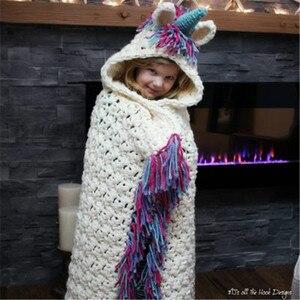 Image 2 - Winter Unicorn Scarf Children Crochet Cotton Warm Shawl Scarf Set Boys Girls Fashion Cartoon Stole Pashmina Novelty Hat
