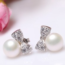 Women Gift word 925 Sterling silver real Natural freshwater pearl earrings, butterfly knot, 925 Silver недорого